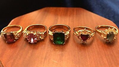 Lot of 5 Vintage Costume Jewelry Rings 18K Gold Plated Nice Stones