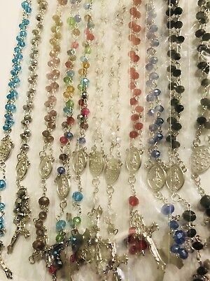 Wholesale 12 Pcs Lots Mix Colors Crystal Rosary Beads Long Chain Necklace Set
