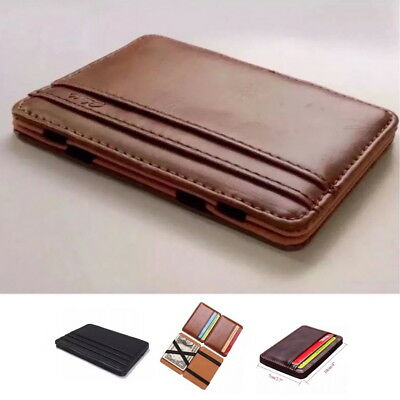 RFID Chic Leather Magic Money Clip Slim Mens Wallet ID Credit Card Holder Case