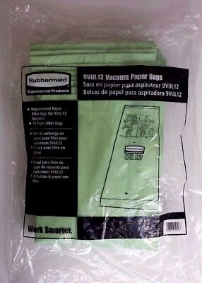 Rubbermaid 9VUL12 Commercial Vacuum Cleaner Paper Filter Bags 10 Pack New