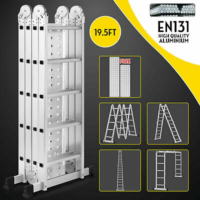 19.5ft Multi Purpose Aluminum Telescopic Ladder Heavy Duty Folding Extension