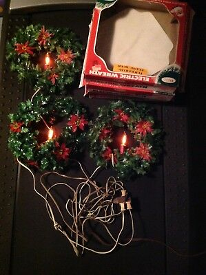 3 Vintage Beacon Electric Wreath With Candles Foliage And Poinsettias Boxed