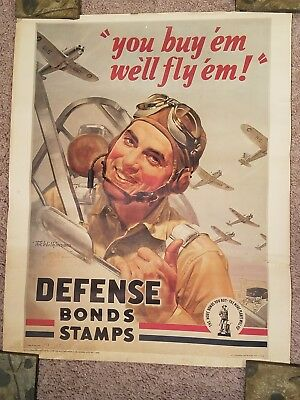 Vtg WWII Fighter Pilot Poster for Defense Bond Stamps.  Military Book Club Print
