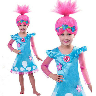 Child Trolls Poppy Troll with Wig Fancy Dress Cosplay Costume Kids Girl Outfits