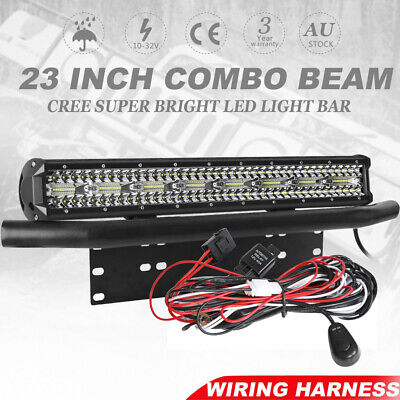 23 inch Triple Row Philips LED Light Bar + 23'' Number Plate Frame + Wiring Kit