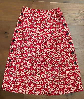eabd472f7af3 Madewell Side-Button Skirt in Full Bloom 00 Retro Floral Cranberry $98. NEW
