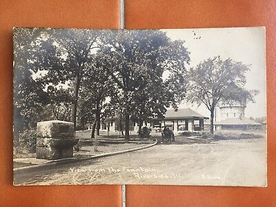 Riverside Il Ill Illinois RPPC 1910 View From The Fountain Horse Cart