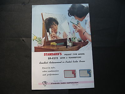Stardard  Pocket SR E212   Transistor Radio SINGLE SHEET BROCHURE