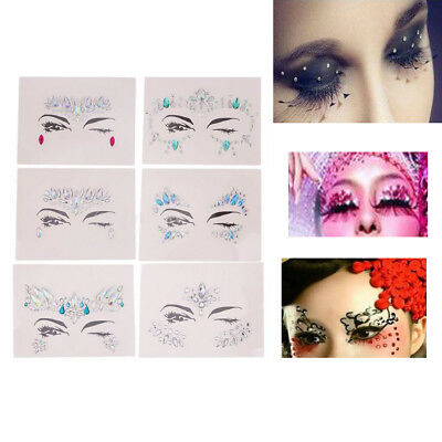 6Pcs Makeup Temporäre Tattoo Gesicht Kunst Jewel Strass Körper Glitter