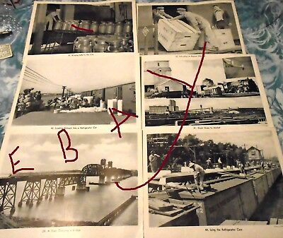 Lot of 6 Vintage Railroad Prints / Pictures  8 1/2 X 11 Trains Loading Box Cars
