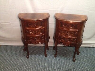 Antique French Country Pair Figured Walnut Petite 3 Drawer  End Table Nightstand