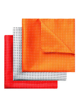 3 Piece Packed Polka Dot Printed Double Sided Handkerchief Pocket Square Hanky