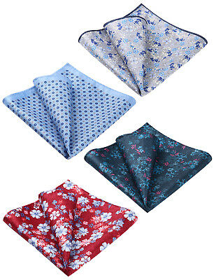 4 Piece Packed Floral Paisley Printed Silk Handkerchief Pocket Square Hanky Set