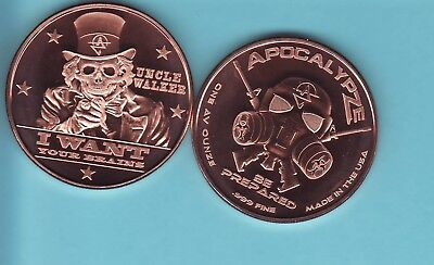 "/""Uncle Walker/"" 1 oz .999 Copper Round Part of the ApocalypeZe Series Limited"