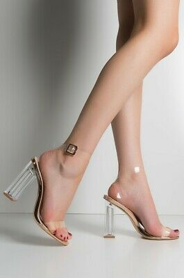 5b8a534b352f Cape Robbin Maria-2 Rose Gold Lucite Clear Strappy Heel Open Peep Toe Sandal