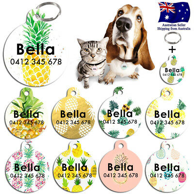 Metal Personalized Pet cat dog Tag Custom Plant ring Name Tags Pineapple