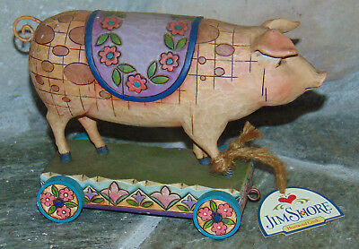 Jim Shore Heartwood 4008184 SPOTTED PIG Resin Pig On Cart Figurine- Wheels Move