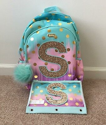 c407e48f8d03 Justice Girls Ombre Foil Dot Backpack Book Bag + Pencil Case Initial S NWT