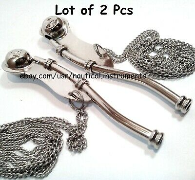 Lot Of 2 Pcs Nautical Antique Brass Nickel Finish Boatswain's Pipe Bosun Whistle