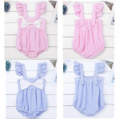 Infant Baby Girls Striped Romper Jumpsuit Bodysuit Big Bow Playsuit Sunsuit