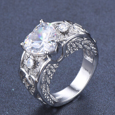 925 Silver Heart Cut White Sapphire Angel Wing Rings Wedding Band Jewelry Sz6-10