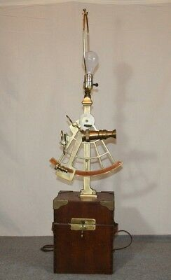 Vintage Brass Replica Naval Sextant Maritime Nautical Lamp Wood Box Base