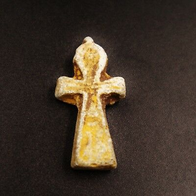 Rare Antique Egyptian Stone Cross Ankh Amulet Figurine