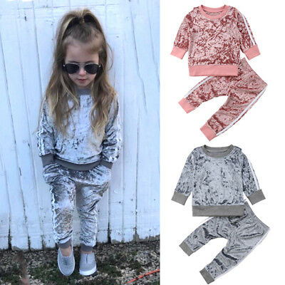 Christmas Toddler Kids Baby Girl Velvet Top Sweatshirt Pants Outfits Clothes USA