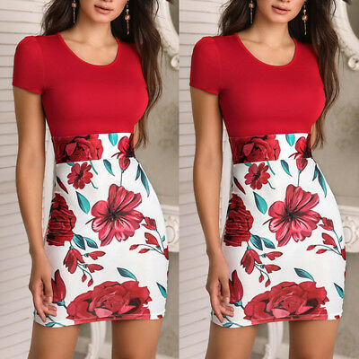 Women Summer Casual Floral Pencil Dress Bodycon Dress Mini Dress Short Sleeve