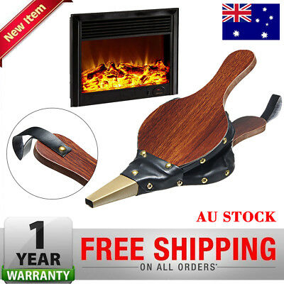 Fire Lighter Fan Vintage Bellows Fireplace Blower Traditional Stove Dark Brown A