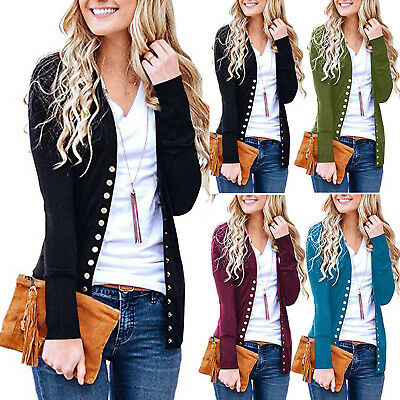 AU Women's V-Neck Button Down Knitwear Long Sleeve Soft Basic Knit Snap Cardigan