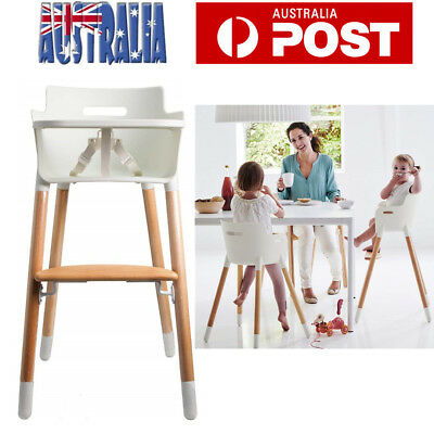 Baby Feeding High Chair Wooden Highchair Adjustable Portable Kids Toddler AU