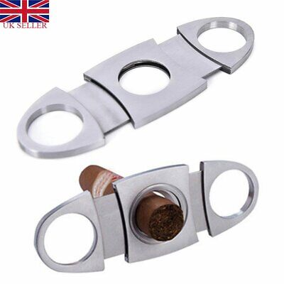 Pocket Stainless Steel Double Blades Cigar Tobacco Cutter Guillotine Cut Blade