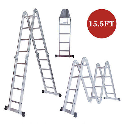 15.5FT Aluminium Ladders Heavy Duty Multi-Purpose Folding Step Ladder W/Platform