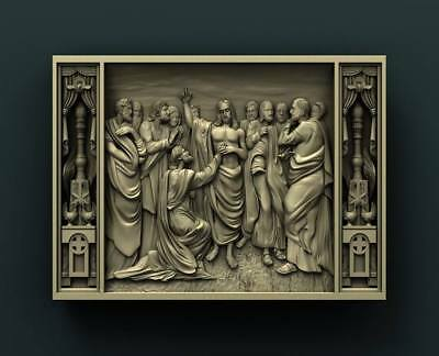 """3D STL Model Relief for CNC Router Aspire Artcam - """"Jesus and the 12"""""""