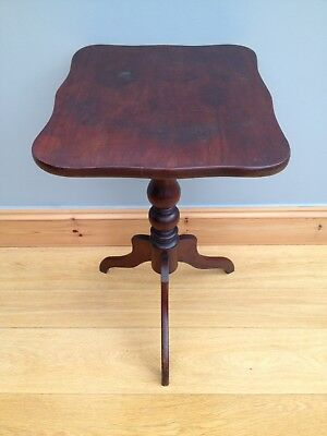 Antique Victorian Tripod Wine Table Mahogany Vintage Turned Pedestal Side Table