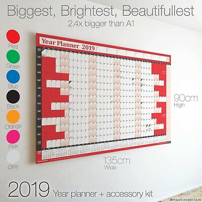 2019 Year Planner Wall Chart+Calendar+Holidays✔Home✔Office✔Work ✔BIGGEST ON EBAY
