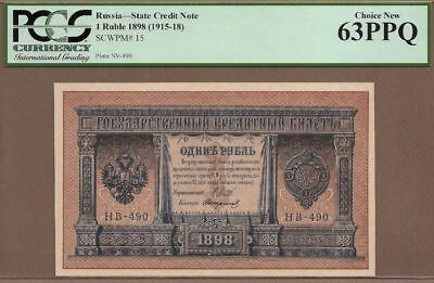 RUSSIA 1 Ruble Banknote,(UNC PCGS63),P-15, 1915-18, SERIAL NUMBER HB - 490  P044
