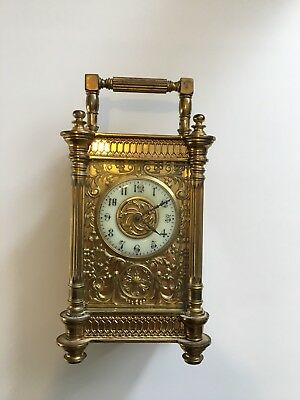 Ornate Carriage Clock With Fancy Brass Fretwork. In Need Of Some Attention