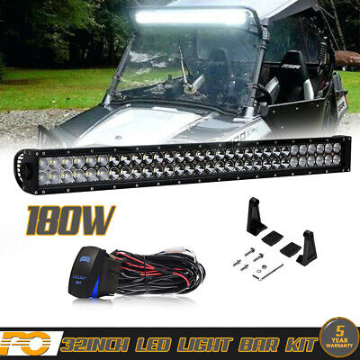 180W 32In LED Light Lamp Bar Combo Spot Flood For Driving Chevy UTV Offroad KIT