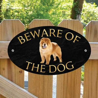 Beware of the Chow Chow Gate Sign, Robust Outdoor Beware of the Dog Gate Plaque