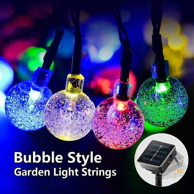 50 LED Solar Powered Retro Bulb String Light ABS+PVC Outdoor Fairy Summer Lamps