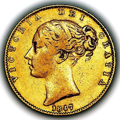1847 Queen Victoria Great Britain London Mint Gold Sovereign Coin