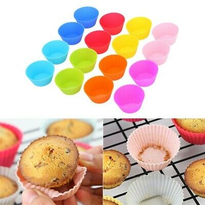 12 x Silicone Round Cup Cake Muffin Cupcake Egg Tart Cases Baking Moulds Pan