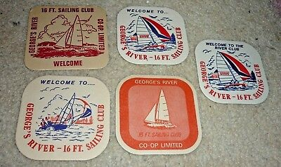 Collectable beer coasters -  Set of 5 George's River 16ft Sailing Club coasters