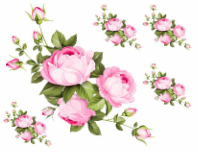 Shabby Pink Cabbage Roses Swags Transfers Decoupage Waterslide Decals FL534