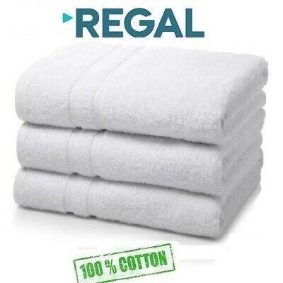 6 pack white regal collection 24x50 hotel bath towels 100% organic cotton
