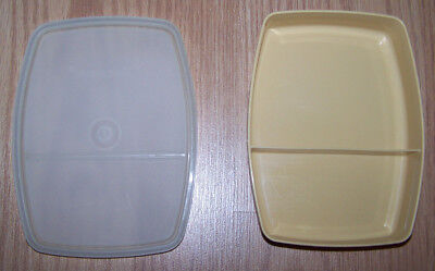 Tupperware Packette Divided Lunch Container Vtg 813 almond base 814 sheer lid