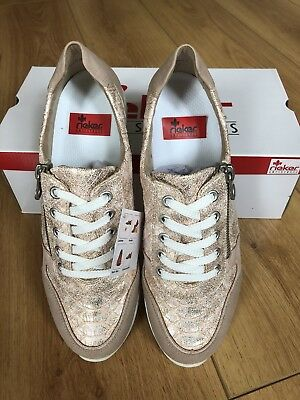 BRAND NEW REIKER AS ladies trainer in baby pink/rose gold leather UK SIZE 5/38