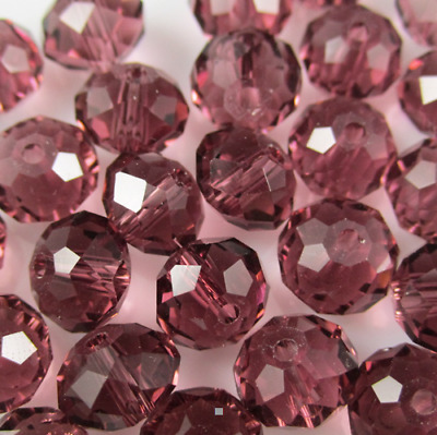 DIY Jewelry Faceted 70pcs 6*8mm Purple Red Crystal Faceted Loose Beads